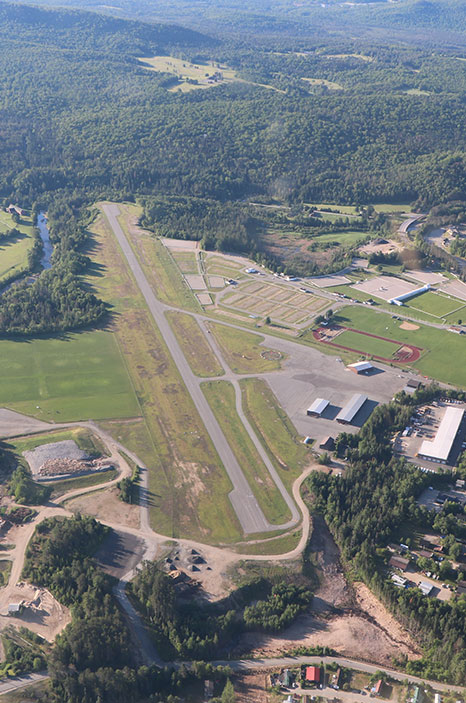 Lake Placid Airport runway seen from the air
