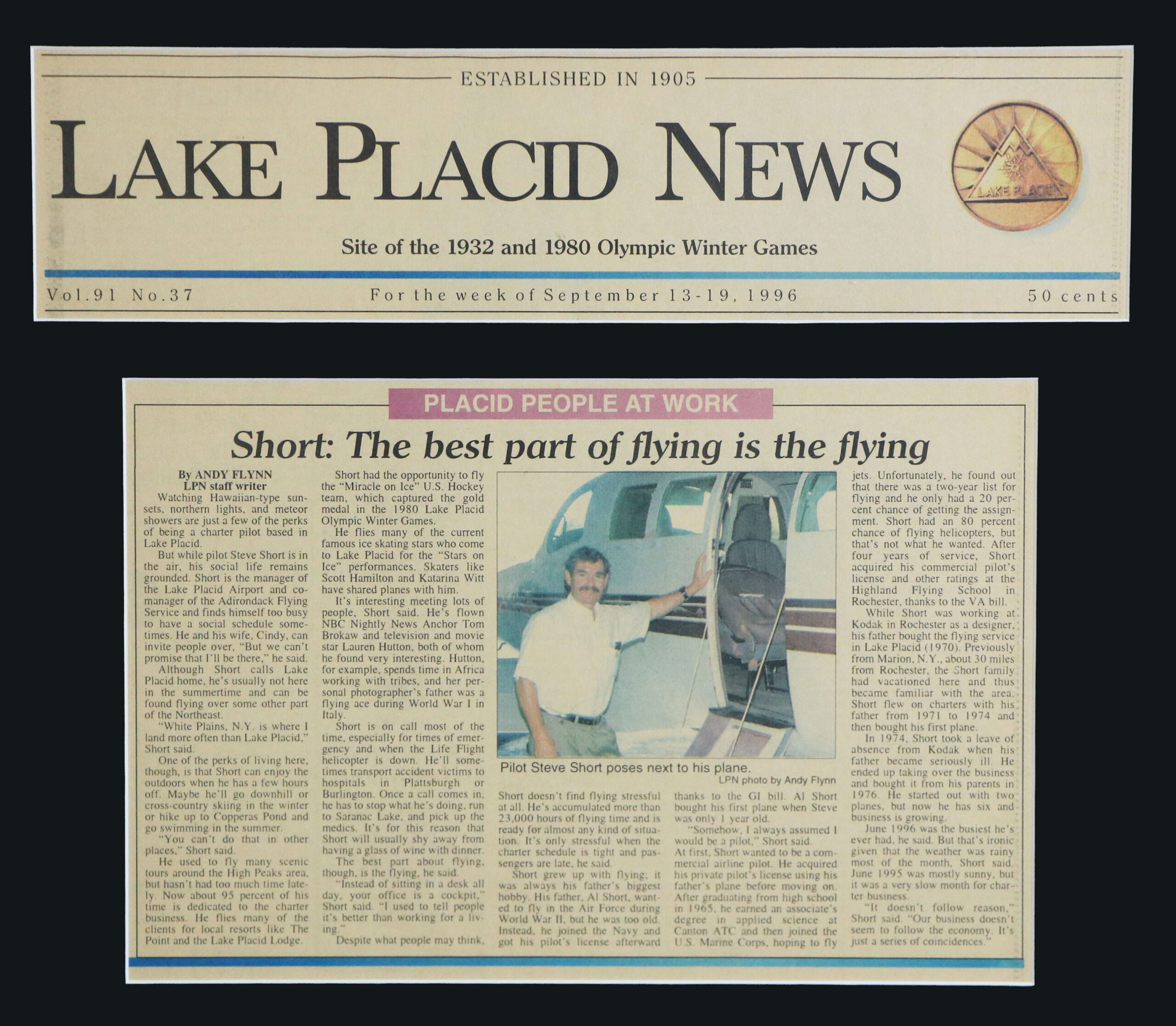 A Lake Placid News article about Adirondack Flying Service 09-13-1996