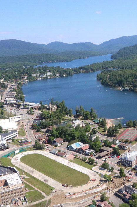 Mirror Lake in Lake Placid, New York from the air.