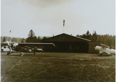 A view of the hangar at Lake Placid Airport in the 1920's